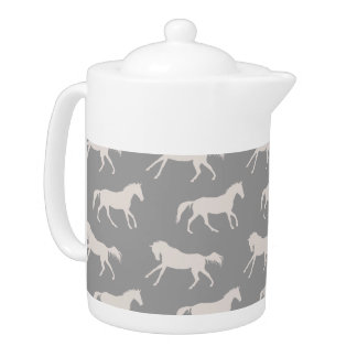 Gray Galloping Horses Pattern Teapot