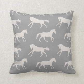 Gray Galloping Horses Pattern Throw Pillow