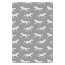 Gray Galloping Horses Pattern Tissue Paper