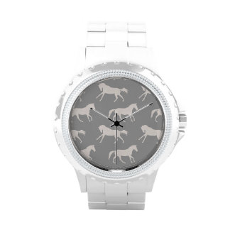Gray Galloping Horses Pattern Watches