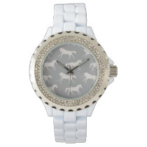 Gray Galloping Horses Pattern Wrist Watch