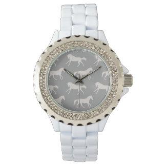 Gray Galloping Horses Pattern Wrist Watch