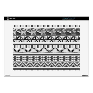 "Gray Geometric Abstract Aztec Tribal Print Pattern 15"" Laptop Skins"