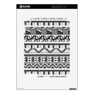 Gray Geometric Abstract Aztec Tribal Print Pattern Decals For The iPad 2