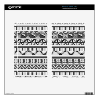 Gray Geometric Abstract Aztec Tribal Print Pattern Kindle Fire Decal