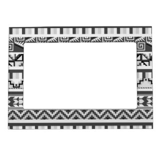 Gray Geometric Abstract Aztec Tribal Print Pattern Magnetic Picture Frames