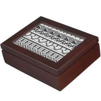 Gray Geometric Abstract Aztec Tribal Print Pattern Memory Box