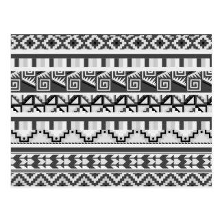 Gray Geometric Abstract Aztec Tribal Print Pattern Postcard