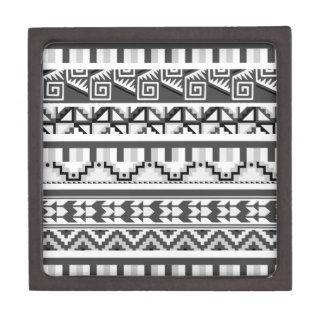 Gray Geometric Abstract Aztec Tribal Print Pattern Premium Trinket Boxes