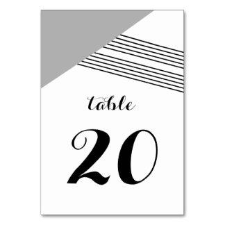 Gray Geometric Stripe Table Card