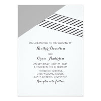 Gray Geometric Stripe Wedding Invite