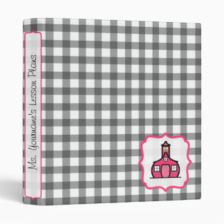 Gray Gingham and Pink Fancy Teacher Binder