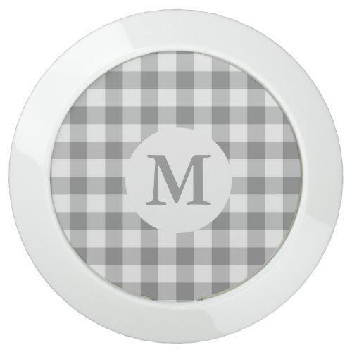 Gray Gingham Check Pattern Monogrammed USB Charging Station