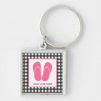 Gray Gingham & Pink Flip Flops Keychain