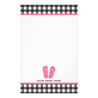 Gray Gingham & Pink Flip Flops Stationery