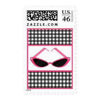 Gray Gingham Pink Retro Sunglasses Postage