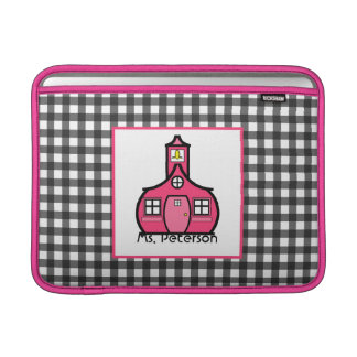 Gray Gingham & Pink Teacher Macbook Air Sleeve