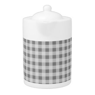 Gray Gingham Teapot