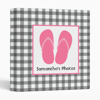 Gray Gingham With Pink Flip Flops Binder