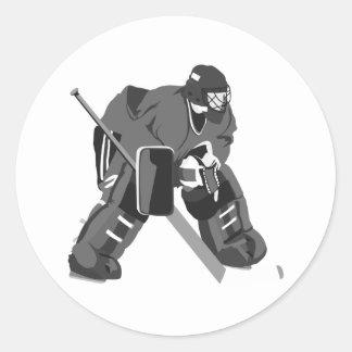Gray Goalie Hockey Round Sticker