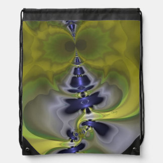 Gray Goblin in Green, Abstract Fun Spooky Imp Drawstring Backpack