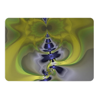 Gray Goblin in Green, Abstract Fun Spooky Imp 5x7 Paper Invitation Card