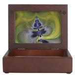 Gray Goblin in Green, Abstract Fun Spooky Imp Keepsake Box
