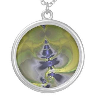 Gray Goblin in Green, Fun Spooky Imp Round Pendant Necklace
