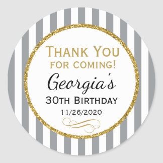 Gray Gold Birthday Thank You Coming Grey Favor Tag