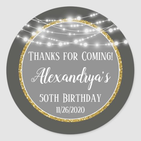 Gray Gold Birthday Thanks For Coming Favor Tags