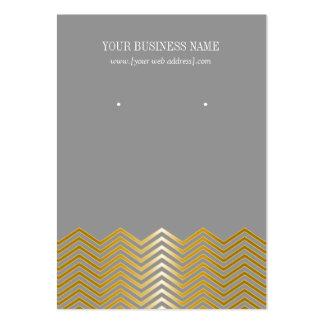 Gray Gold Chevron Custom Earring Card Large Business Card