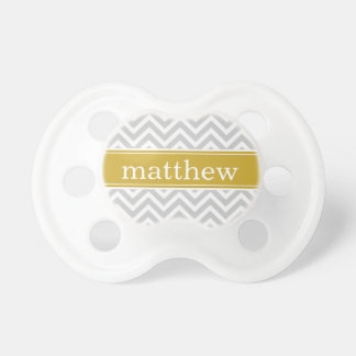 Gray & Gold Chevron & Monogram Pacifier