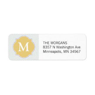Gray & Gold Modern Chevron Custom Monogram Label
