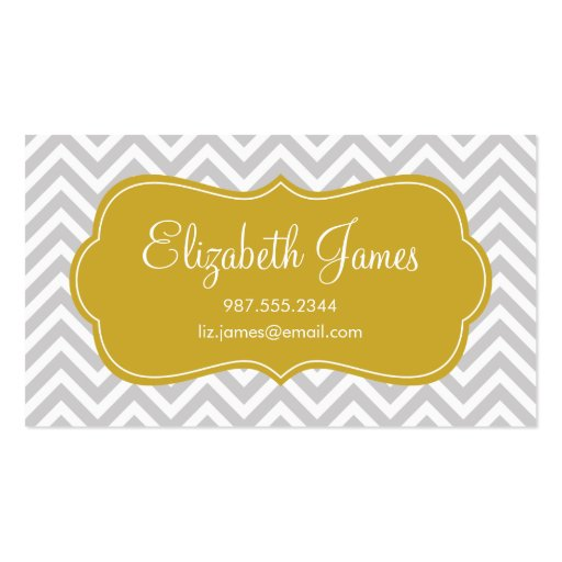 Gray & Gold Modern Chevron Stripes Double-Sided Standard Business Cards (Pack Of 100)