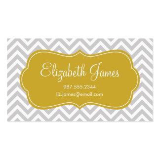 Gray & Gold Modern Chevron Stripes Business Card