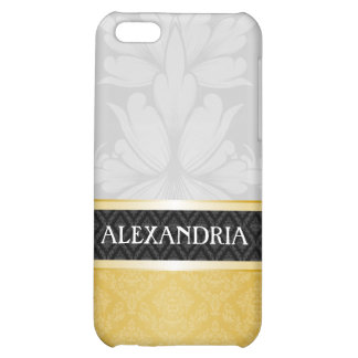 Gray & Gold Personalized Damask iPhone 4 Case