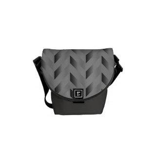 Gray Gradient Chevron Handbag Courier Bag