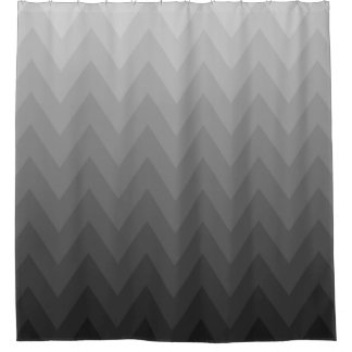 Gray Gradients Chevrons Pattern Shower Curtain