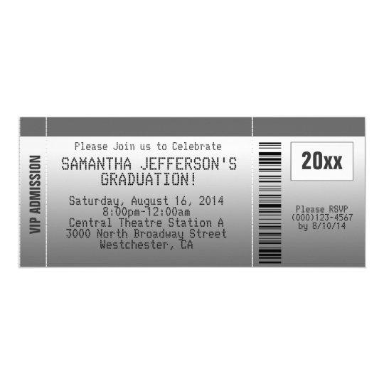 Gray Graduation Party Ticket Invitation