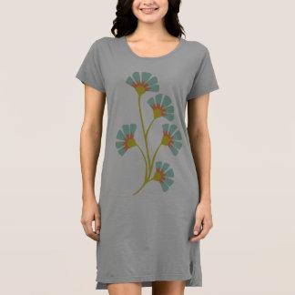 Gray Graphic T-Shirt Dress Tunic Blue Green Flower
