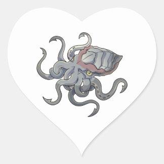 Gray/Gray Mythical Cartoon Kraken Monster Heart Sticker
