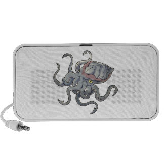 Gray/Gray Mythical Cartoon Kraken Monster Notebook Speakers