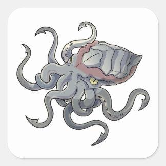 Gray/Gray Mythical Cartoon Kraken Monster Square Sticker