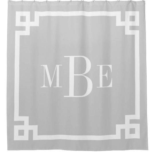 Gray Greek Key Border Monogram Shower Curtain | Zazzle.com