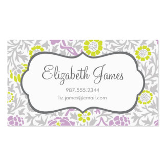 Gray Green and Lilac Retro Floral Damask Business Card