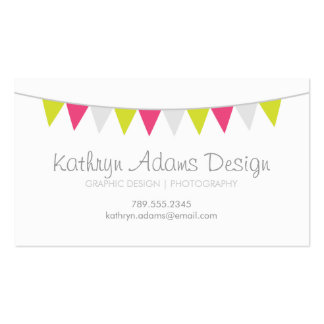 Gray Green and Pink Modern Bunting Business Cards