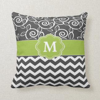 Gray Green Chevron Monogram Throw Pillow