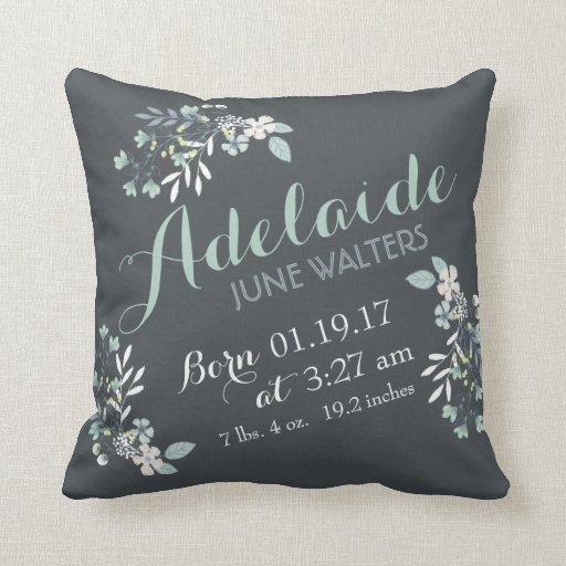 Gray Green Floral Nursery Keepsake Throw Pillow