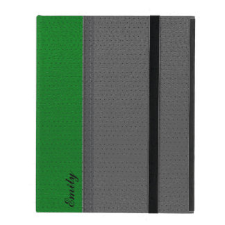 Gray & Green Leather-Stitched Accent Monogram 2 iPad Cover