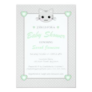 Gray Green Neutral Cute  Kawaii Cat Baby Shower Card